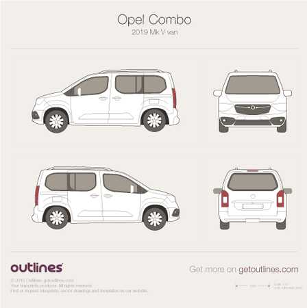2019 Opel Combo Mk V Minivan blueprint
