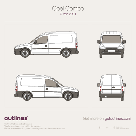 2001 Opel Combo Panel Van C Van blueprints and drawings