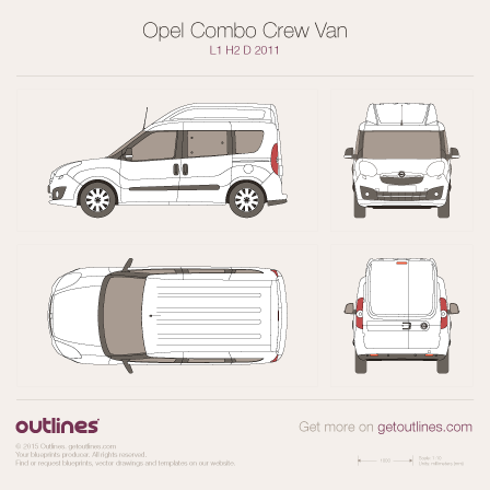 2011 Opel Combo Crew Van D Wagon blueprints and drawings