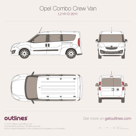 2011 Opel Combo Crew Van D L2 H1 Wagon blueprint