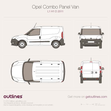 2011 Opel Combo Panel Van D L1 H1 Van blueprint