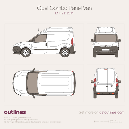 2011 Opel Combo Panel Van D Wagon blueprints and drawings