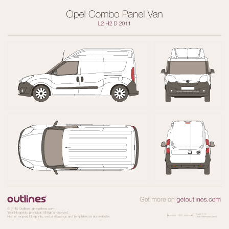 2011 Opel Combo Panel Van D L2 H2 Wagon blueprint