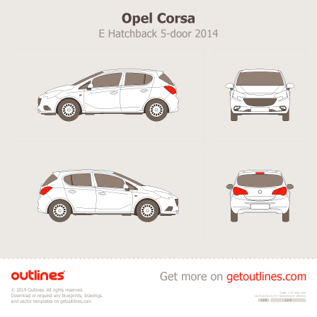 2014 Opel Corsa E Hatchback blueprints and drawings