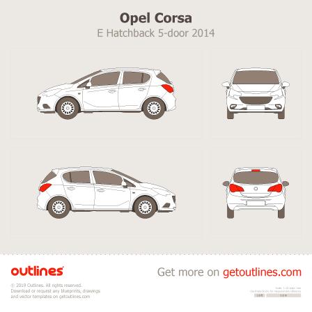 2014 Opel Corsa E 5-doors Hatchback blueprint
