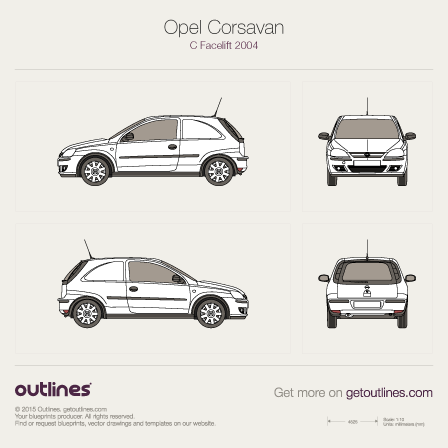 2003 Opel Corsavan Microvan blueprints and drawings