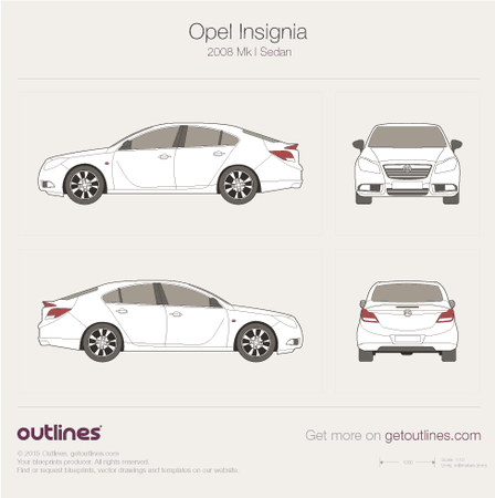 2008 Opel Insignia Sedan blueprints and drawings