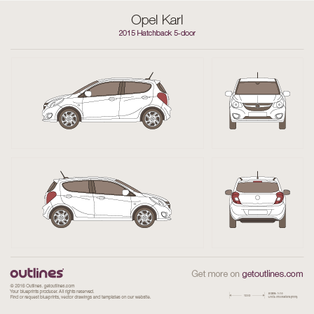 2015 Opel Karl Hatchback blueprints and drawings