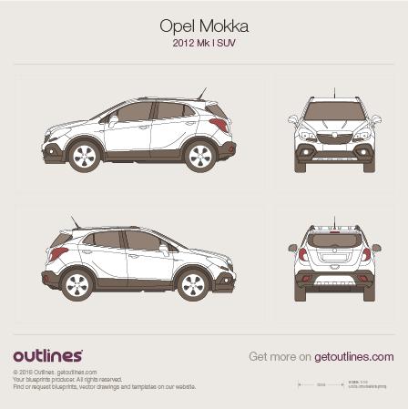 2012 Opel Mokka SUV blueprint
