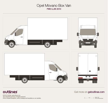 2010 Opel Movano Box Van FWD LL35 Van blueprint