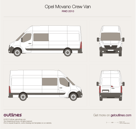 2010 Vauxhall Movano Crew Van Van blueprints and drawings