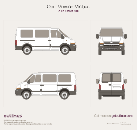 2003 Vauxhall Movano Minibus Wagon blueprints and drawings