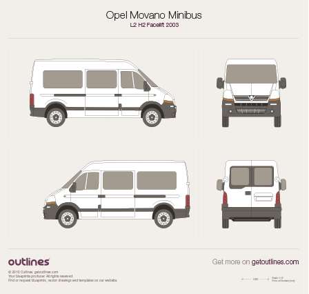 2003 Opel Movano Minibus Wagon blueprints and drawings