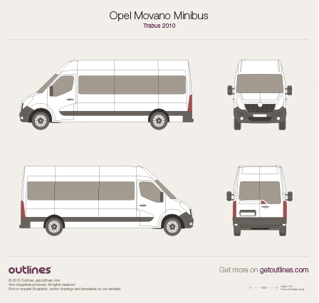 2010 Opel Movano Minibus Bus blueprints and drawings