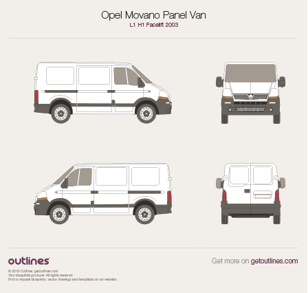 2003 Vauxhall Movano Panel Van Van blueprints and drawings