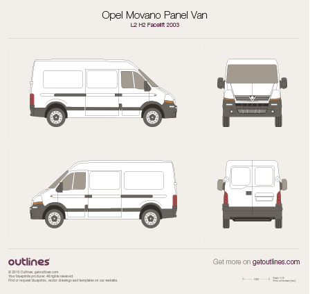 2003 Vauxhall Movano Panel Van L2 H2 Facelift Van blueprint