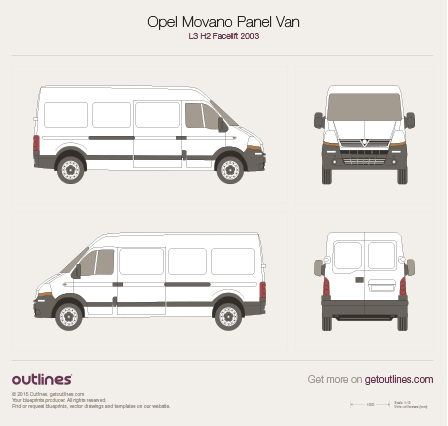 2003 Opel Movano Panel Van L3 H2 Facelift Van blueprint