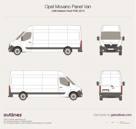 2010 Vauxhall Movano Panel Van LWB Medium Roof FWD Van blueprint