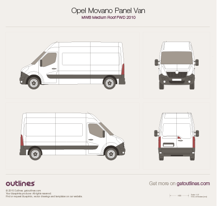 2010 Opel Movano Panel Van MWB Medium Roof FWD Van blueprint