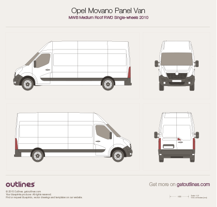 2010 Vauxhall Movano Panel Van Van blueprints and drawings
