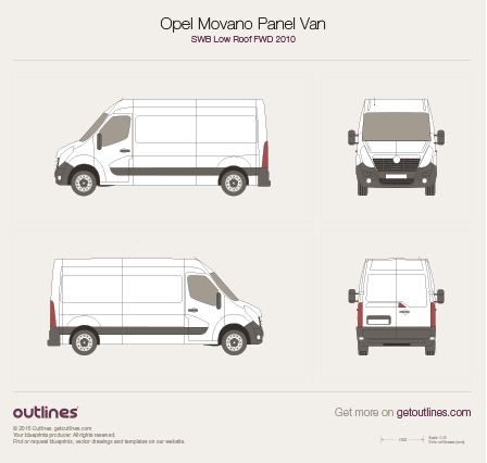 2010 Vauxhall Movano Panel Van SWB Low Roof FWD Van blueprint