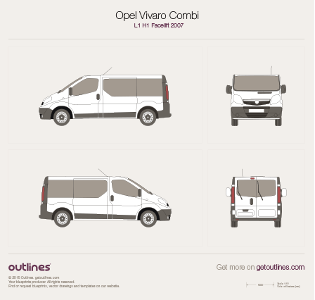 2007 - 2014 Opel Vivaro Combi L1 H1 Facelift Wagon drawings