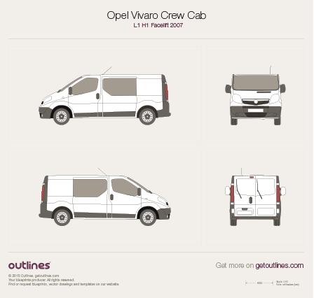 2007 Vauxhall Vivaro Crew Cab L1 H1 Facelift Van blueprint