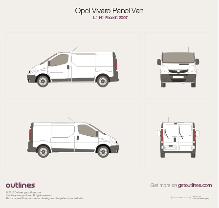 2007 Vauxhall Vivaro Panel Van L1 H1 Facelift Van blueprint