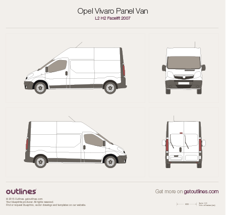 2007 Vauxhall Vivaro Panel Van L2 H2 Facelift Van blueprint