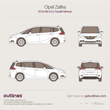 2016 Opel Zafira C Tourer Minivan blueprints and drawings