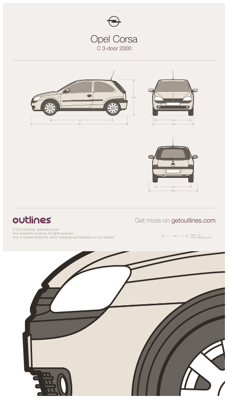 2000 Opel Corsa C 3-door Hatchback blueprint