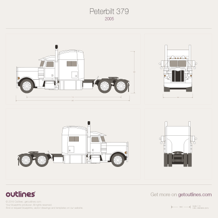 2005 Peterbilt 379 + add dimensions Heavy Truck blueprint
