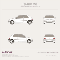 1996 Peugeot 106 Phase II 3-doors Hatchback blueprint