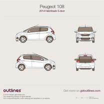 2014 Peugeot 108 5-doors Hatchback blueprint