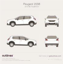 2016 Peugeot 2008 Mk I Facelift SUV blueprint