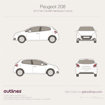 2015 Peugeot 208 3-doors Facelift Hatchback blueprint