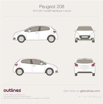 2015 Peugeot 208 3-doors Facelift Hatchback blueprint