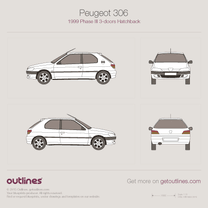 1999 Peugeot 306 Phase III 3-doors Hatchback blueprint
