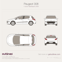 2007 Peugeot 308 5-door Hatchback blueprint