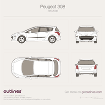 2007 Peugeot 308 SW Wagon blueprint