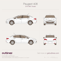2010 Peugeot 408 Sedan blueprint