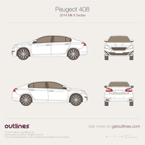 2014 Peugeot 408 II Sedan blueprint