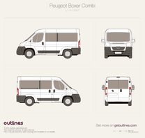 2007 Peugeot Boxer Window Van L1 H1 Bus blueprint