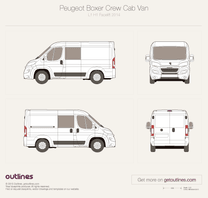 2014 Peugeot Boxer Crew Cab L1 H1 Facelift Van blueprint