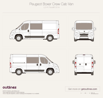 2014 Peugeot Boxer Crew Cab L2 H1 Facelift Van blueprint