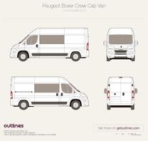 2014 Peugeot Boxer Crew Cab L3 H2 Facelift Van blueprint