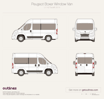 2014 Peugeot Boxer Window Van L1 H2 Facelift Wagon blueprint