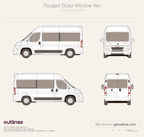 2014 Peugeot Boxer Window Van L2 H2 Facelift Van blueprint