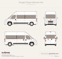 2014 Peugeot Boxer Window Van L3 H3 Facelift Van blueprint
