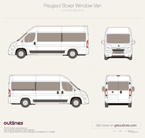 2014 Peugeot Boxer Window Van L4 H2 Facelift Van blueprint